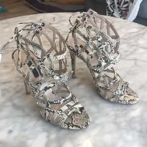 Strappy snake skin design heel from topshop.